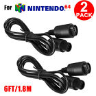 2 Pack 6ft Extension Cable Cord for Nintendo 64 Controller N64 Game Console NEW