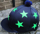 Riding Hat Silk Skull cap Cover  NAVY BLUE * LIME GREEN STARS With OR w/o Pompom