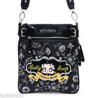 Betty Boop Black Embroidered flora rhinestone Cross-Body Messenger Bag B12Z36 $22.76 USD