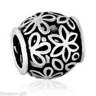 Wholesale European Spacer Beads Flower Carved Round Silver Tone 11mmx11mm