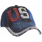 Patriotic USA Bling Glitz Baseball Caps:  Stars & Stripes, Flag,  XOXO & USA
