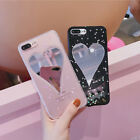 Mirror Glitter Bling Powder Love Heart Soft Phone Case For iPhone 6 6S 7 Plus