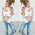 Fashion Womens Summer Short Sleeve Shirt Casual Blouse Loose Floral Tops T Shirt