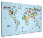 Animal Map of the World for children and kids Box Canvas and Poster Print (613)