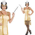 Ladies 20 Gold Flapper Fancy Dress Costume 1920s Charleston Outfit Smiffys 29188