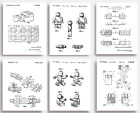 LEGO Patent Prints - Set of 6 - Unique quirky GIFT for Lego lovers young & old
