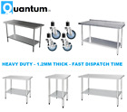 Stainless Steel Table Work Bench Catering Tables On Wheels Castors Prep Table