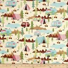 FUN CAMPING CARAVANS QUILT SEWING FABRIC *Free Oz Post