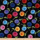 PETAL PARTY DAHLIA FLORAL BLACK QUILT SEWING FABRIC *Free Oz Post