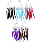 Exaggerated Leather Beaded Tassel Earrings Feather Long Drop Wedding Earrings