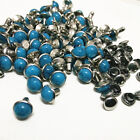 "PKG of 10 TURQUOISE BLUE STONE Steel Rivet Studs 1/4"" - 1/2"" (7 to 12mm)(1090)"