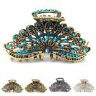 Woman Large elegant metal Peacock tail rhinestones crystal hair claw Clip pin