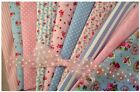 Cotton Fabric Pinks and Blues Vintage Shabby Chic 10 x Fat Quarters or samples