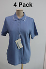 4-Pack Womens eDry Extreme Light Blue Ladies Button Polo Short Sleeve Work Shirt