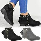 Womens Ladies Chelsea Ankle Boots Studded Bow Tie Comfy Flat Winter Shoes Size