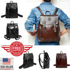 Vintage Men Backpack Leather School Bag Satchel Laptop Travel Rucksack 6