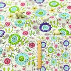 WHITE MULTI Meter/Fat Quarter/FQ Cotton Fabric Sunflower Daisy Bright Flowers