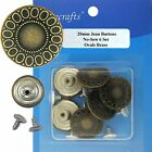 20 mm No-Sew Antique Brass Jean Tack Buttons Collection CT. 6