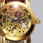 Royal Skeleton Carving Mens Automatic Mechanical Golden Tone Leather Wrist Watch