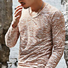 Fashion Men's Slim Fit Long Sleeve V-neck T-shirt Casual Tee Shirt Tops Pullover