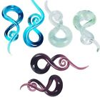 PAIR Ear Tunnles Spiral Handmade Pyrex Glass Ear Gauges Earring Plugs Pierecing image