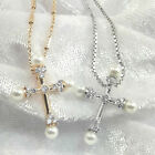 Pearl Cross Necklace/Pendant Made With Swarovski Crystal - Gold or Silver