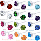 """3.50 Ct Round Cut 14K White Gold Over Sterling Silver """"Gemstone"""" Stud Earrings"""