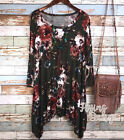 Plus Size Green Floral Print Tunic Top Long Sides Made in the USA Boho 1X 2X 3X