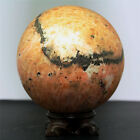 "4.4"" 8.3lb Orange calcite w/epidote,Tourmaline sphere ball w/stand-madagscar"