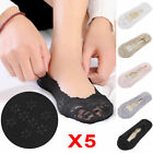 Womens Ladies Skin Shoe Liners Footsies Invisible Thin Lace Socks 5Pairs EB2