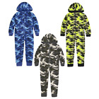 Boys Camouflage Soft Fleece All in One /Onezee/Sleepsuit  7,8,9,10,11,12,13Y NEW