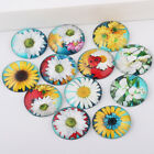 New Flatback Cameo Embellishment Embroidery Sun Flower Round Glass Cabochon