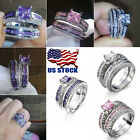 US Princess Style Crystal Wedding Set Rings 925 Sterling Silver Zircon For Women