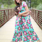 US Floral Plus Size Mother and Daughter Matching Floral Women Long Maxi Dresses