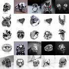 Hot Men's Stainless Steel Gothic Punk Skull Silver Ring Fashion Jewelry Size8-10