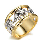 Noble Women Men 10kt Yellow Gold Filled Elephant Engagement Band Rings Wedding