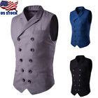 Mens Double Breasted Gilets Fit Waistcoat Slim Formal Business Suit Vest Jackets