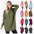 Women Long Sleeve Over-size Pullover Hoodie Tunic Top Pockets Sweatshirt Sweater