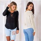 Women Casual Long Sleeve Knitted Pullover Sweater Tops Corns perforated straps
