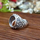 Sterling Silver 925 Oval Cabochon 13x16mm Semi Mount Men Enagement Ring Size7-11