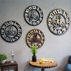 Loft Digital Gear Wooden Art Bar Cafe 3D Stickers Wall Clock Retro Decoration