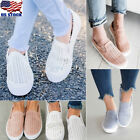 Women Canvas Hollow Out Round Toe Platform Flat Heel Slip On Loafer Casual Shoes