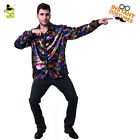 Men's Disco Shirt Shiny Long Sleeve Adult Costume Accessorie