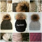 Fur Pom Pom Hats Beanie ALL COLOURS Grey Black Cream Cashmere Blend Bobble Hats