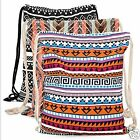 Canvas Aztec Geometric Tribal Print Bohemian Drawstring Gym