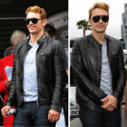 Mens Black Genuine Leather Jacket Real Lambskin Slim Fit Biker Style Retro S-3XL