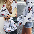 Womens Fashion Floral Sweatshirts Long Sleeve Warm Hoody Pullover Casual Tops HX