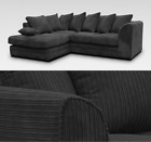 Dylan Fabric Corner Sofa LHF RHF Black Jumbo Cord 3 + 2 Seater Set Swivel Chair
