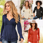 HOT Womens Sexy V-Neck Casual Chiffon Puff Sleeve Style Blouse T-Shirts Tops
