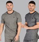 Intense Mens Fashion T Shirt Crew Neck Short Sleeve Tee Slim Fit Green Grey New
